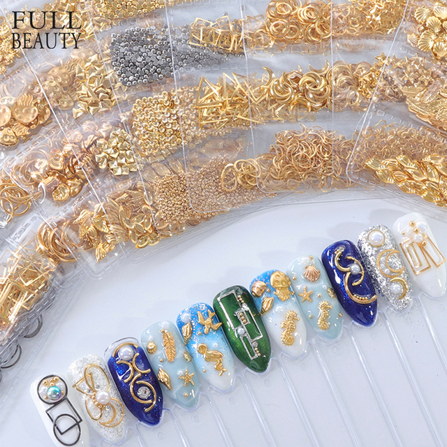 1 Pack Mixed 3D DIY Hollow Metal Frame Nail Art Decorations Gold Rivet Manicure Accessories DIY