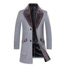 f987017191423 Пальто мужское шерстяное средней длины зимнее пальто мужское с меховым  воротником пальто мужские зимние тренчи Manteau