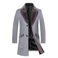 Overcoat Male Wool Blend Mid Long Winter Coat Men With Fur Collar Coat Men Winter Trench Manteau Homme Hiver
