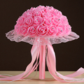 Fast Shipping Crystal Beads Lace Edge Ribbon Artificial Wedding Bouquet Buque Noiva Branco Pink Red 6 Different Color