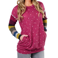 Women Polka Dot Pullover Fashion Patchwork Striped O Neck Long Sleeve Jumper Casual Tops Sudaderas Mujer