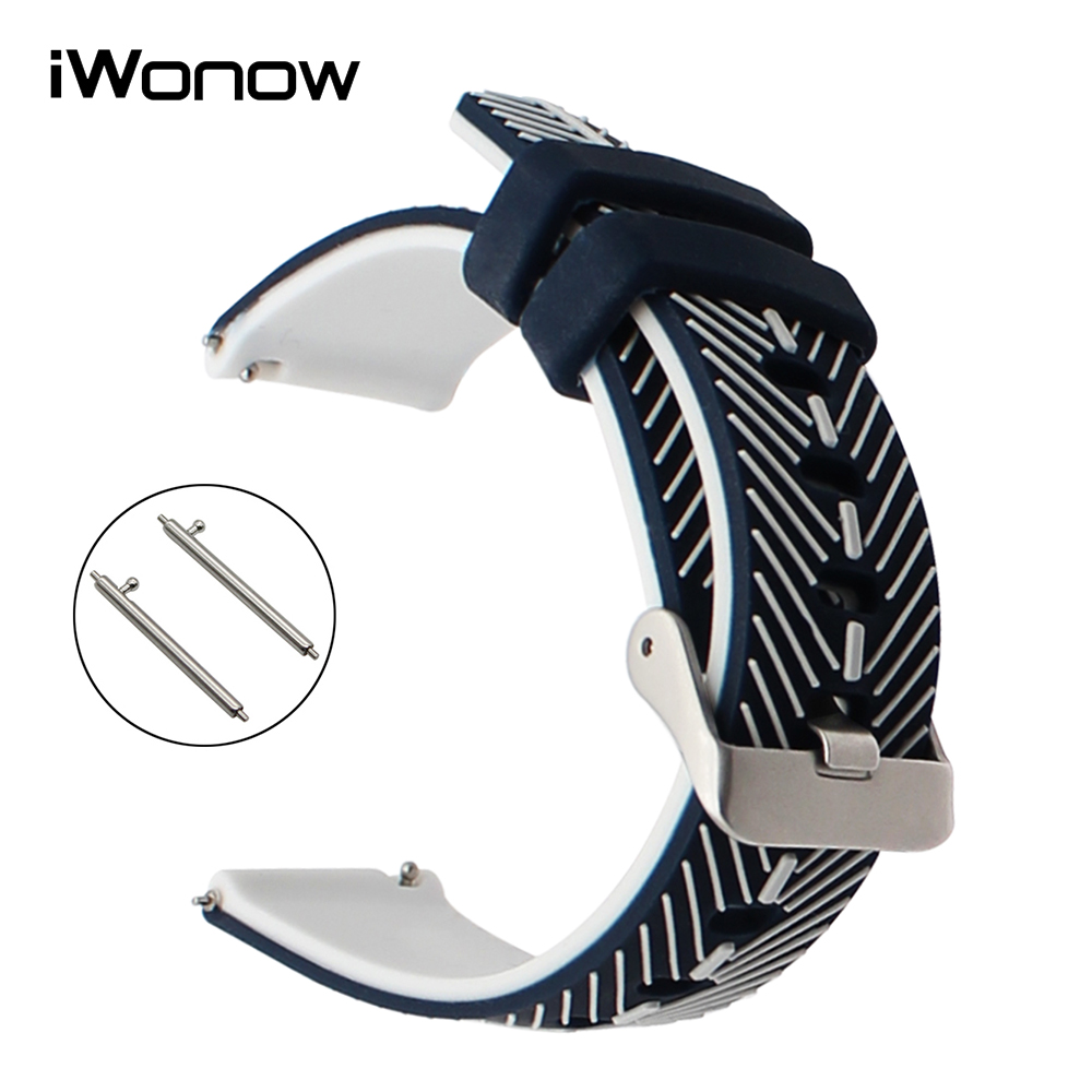 Double Color Silicone Rubber Watchband 21mm 22mm for Titoni Michel Herbelin Unizeit Parnis Quick Release Watch Band Wrist Strap