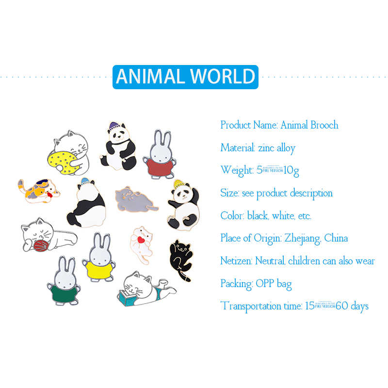 Giocherellona carino animale spilla del collare delle signore cappello Dello Smalto pin panda gatto coniglio spilla uomini monili popolari per mandare i bambini di regali