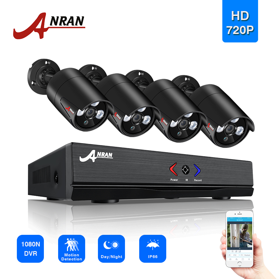 ANRAN Surveillance 4CH HDMI 1800N AHD DVR 1800TVL 720P 3 Array IR Night Outdoor Waterproof Video Security Camera CCTV System ahd 24ch 1080n hdmi dvr set security camera system 24pcs ahd 720p 1800tvl 3 ir outdoor night vision home surveillance camera