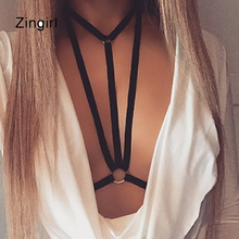Zingirl Triangle Hollow Out Sexy Cropped Tops Women Intimates Brief Halter Elastic Bandage Black Brassiere Camisoles & Tanks