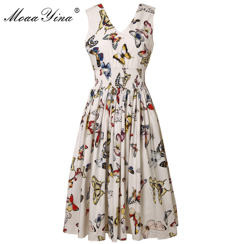 MoaaYina Fashion Designer Runway dress Spring Summer Women Dress Butterfly Floral Print Elastic waist Elegant Cotton Dresses-in Dresses from Women's Clothing    1