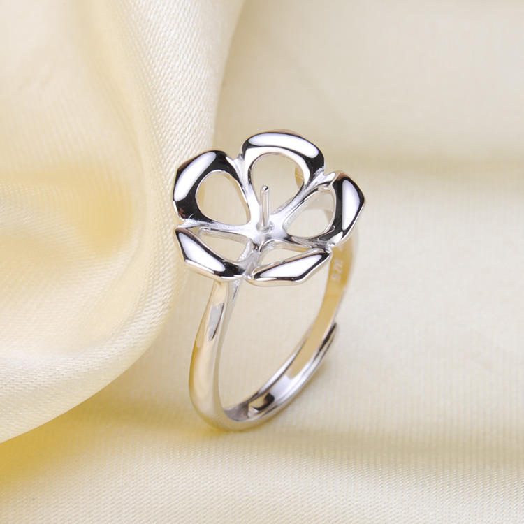 Ring Mount Pearl Accessories Adjustable Size 925 Sterling Silver Ring Jewelry DIY No Pearl Free Shipping Кольцо