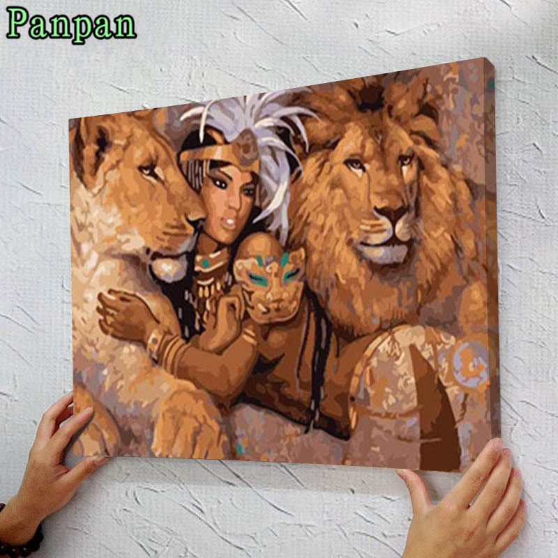 Painting by numbers Frameless Diy Digital Oil Painting on Canvas Beauty and The Lion Modern Classic Wall Pictures Christmas Gift