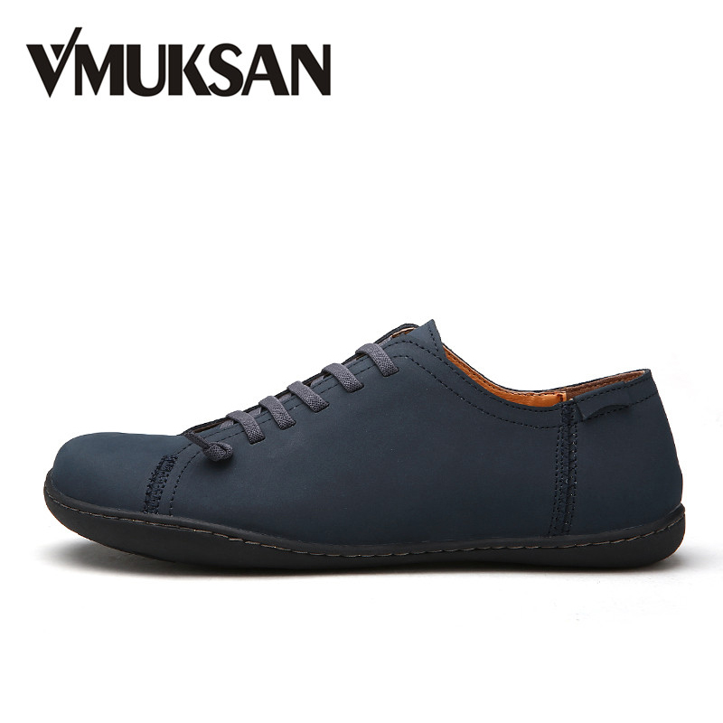 VMUKSAN New 2018 Mens Shoes Split Leather Men's Flat Mens Handmade Loafers Fesyen Designer Slip On Espadrilles