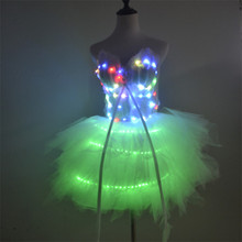 P37 Party dance led costumes luminous colorful light skirt evening dress wedding singer perform RGB light skirt rave tutu dress pro p37