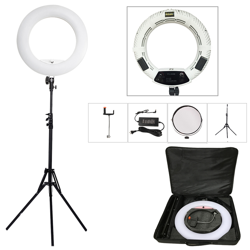 "Yidoblo putih FS-480II 5500K Dimmable Camera Pro 2 warna laras 18 ""48W 480 LED Cincin Lampu Lampu LED + 200cm tripod + Kit Bag"