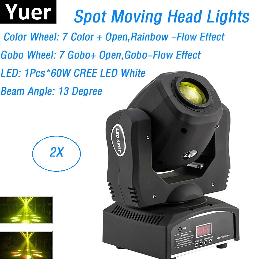 2 10xlot Mini Spot 60 w LED Moving Head Lumières 8 Gobos 8 Couleurs Haute Luminosité 60 w LED Dj spots DMX 9/11 Chs Led Stage de Lumière