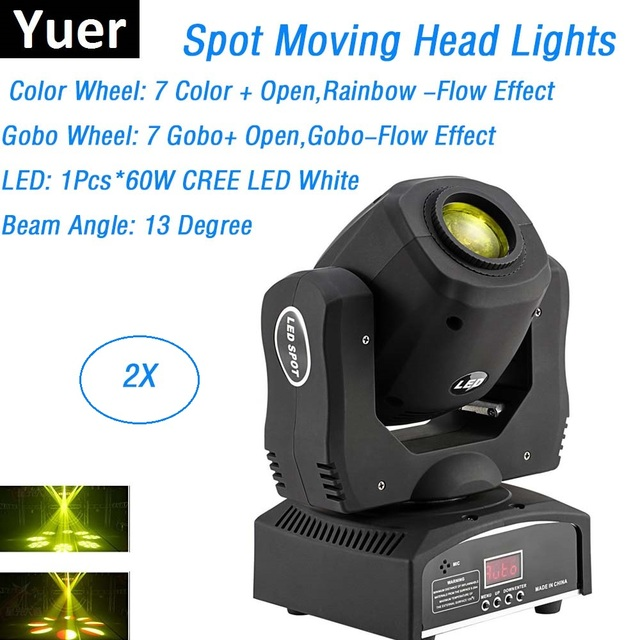 2xlot Mini Spot 60w Led Moving Head Lights 8 Gobos 8 Colors High