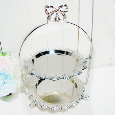 Soporte de pastel de boda europeo doble plata disco plateado té de la tarde plato de corazón pastelería sala de estar muebles artículos - 3