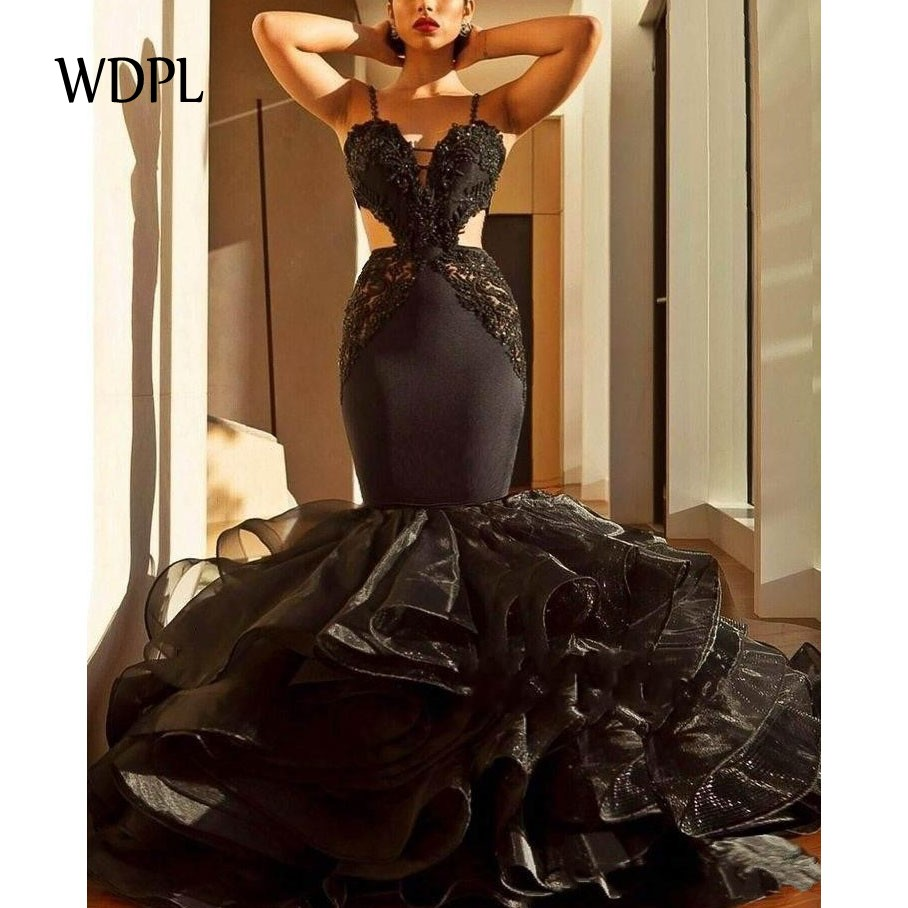 abiye   Evening     Dress   Beading Off Shoulder Prom   Evening     Dresses   Vestidos Longo robe de soiree Mermaid Formal Gowns Black