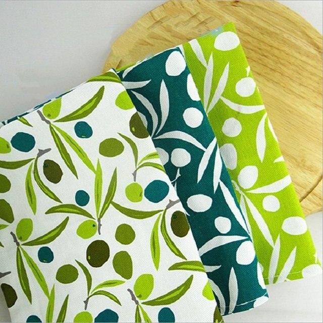 New Arrival Olive Printed Tea Towels Cotton Table Napkins 3pcs Wipe ...