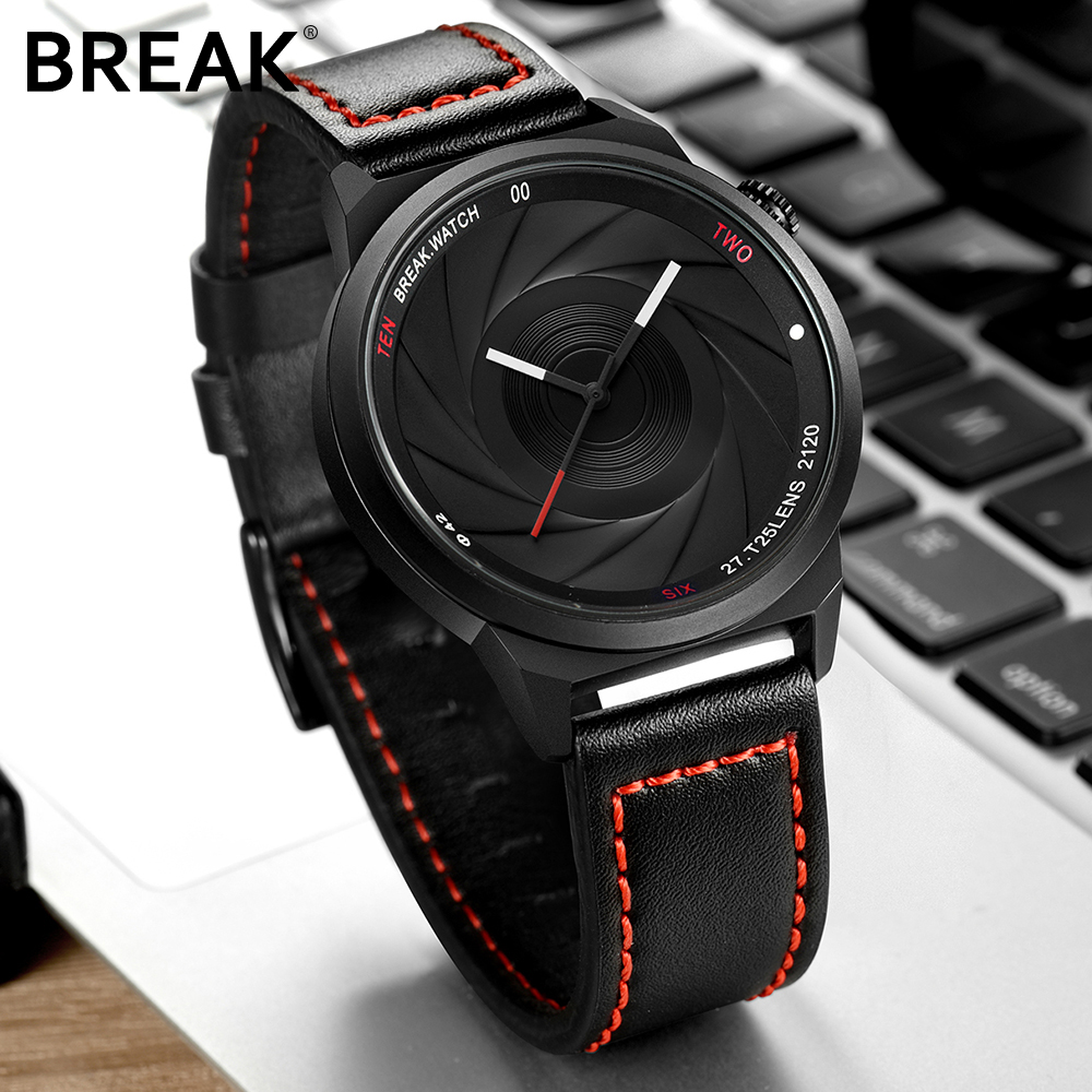 BREAK men unisex unique camera style stainless rubber band casual fashion font b sport b font