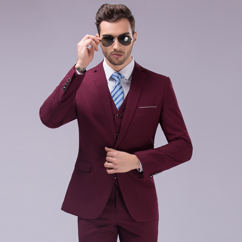 Mens Three Piece Suit Korean Mens Leisure Suits Slim Fit Classic ...