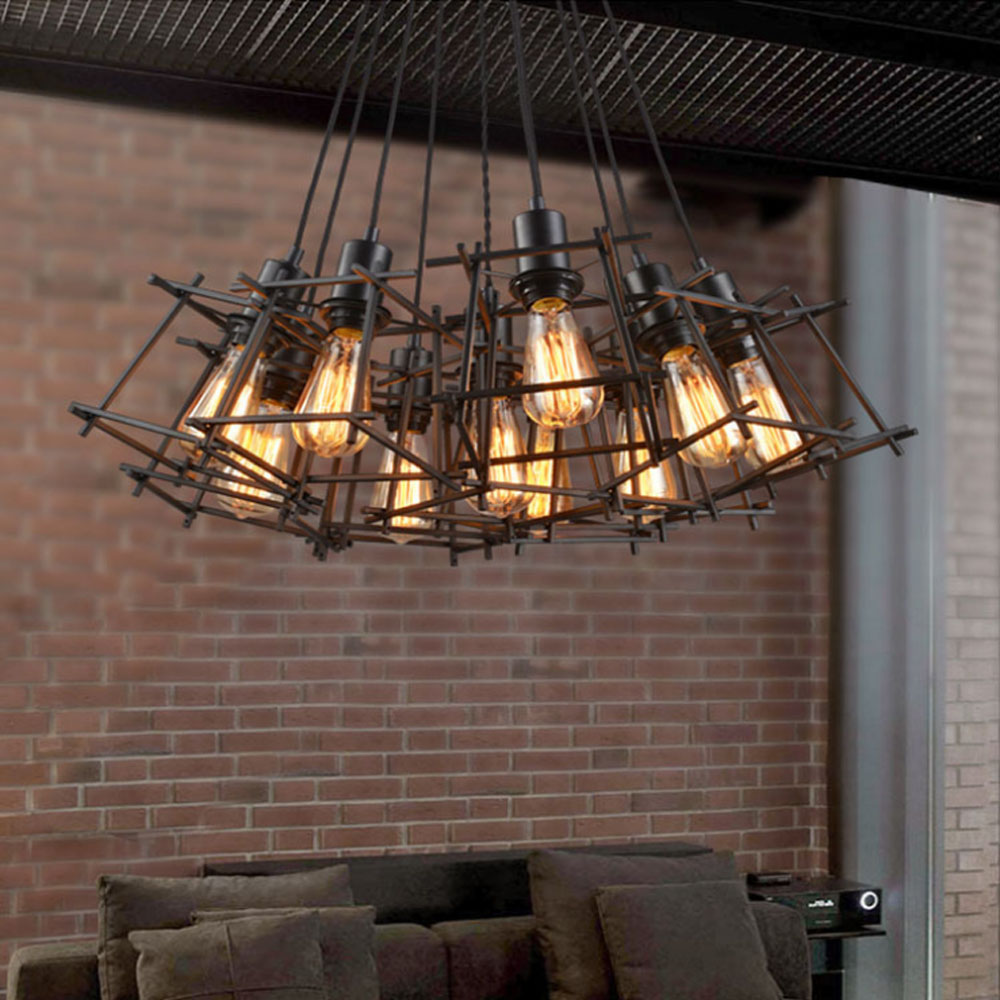 Creative personality retro industrial wind wire chandelier creative personality retro industrial wind wire chandelier restaurant bar taiwan village iron single trapezoidal chandelier in pendant lights from lights arubaitofo Gallery