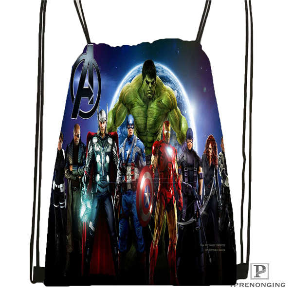 Custom Avengers_age Drawstring Backpack Bag Cute Daypack Kids Satchel (Black Back) 31x40cm#180612-02-30