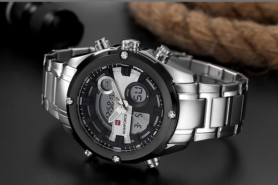 Top Luxury Brand NAVIFORCE Men Full Steel Sport Watches Men's Quartz Analog LED Clock Man Military Wrist Watch Relogio Masculino 9