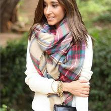 Hot marking Scarf Wrap Shawl Plaid Cozy Checked Women Lady Blanket Oversized Tartan Sep15