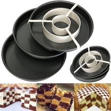 Round Cake Baking Pan 4Pcs/Set Non-Stick Divider Tray Chess Grids Check Non-stick Springform Pans Cake Bake Mould Bakeware Tool(China (Mainland))