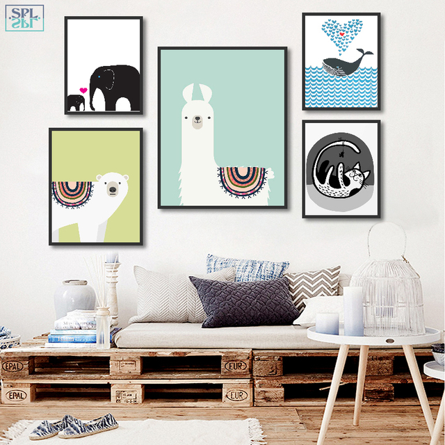 SPLSPL Nordic Cartoon Picture Cute Animals Cat and Fish Wall Art Print Canvas Poster Painting for Kids Room Decor Without Frame