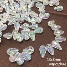 Meideheng AB Rainbow section water drop Beads Acrylic Transparent DIY Beads For Jewelry Making Curtain decoration Accessories