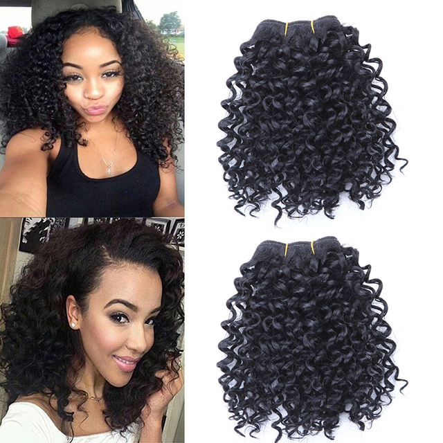 3 Bundles Short Afro Kinky Curly Hair Bundles Hair Wefts Blended