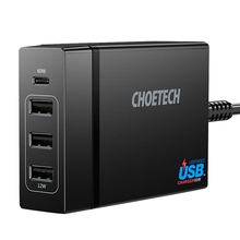 Choetech 72W 4 Port Usb Type C Desktop Charger Station With Power Delivery For Iphone X 8 Plus Macbook Pro Mobile Phone Charge