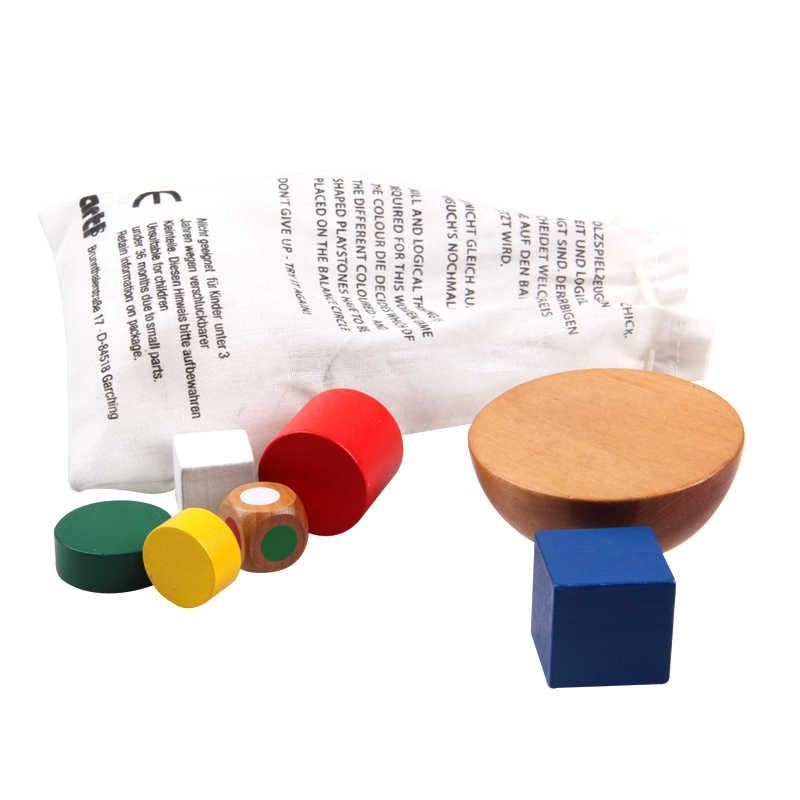 Bloques geométricos de madera, juguetes de juego de equilibrio para niños, juguetes educativos de aprendizaje Montessori para niños, juego familiar