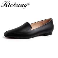Genuine Leather Loafer Shoes For Women Black Ladies Flat Shoes White Flat Shoes Square Toe Slip on Casual Female Flats