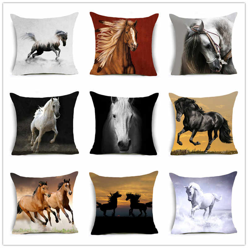 2018 New Horses Cotton Cushion Cover Steed Animal War Horses Home Decorative Pillow Cover for Sofa Car Nordic Pillowcase Vintage