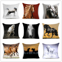 2018 New Horses Cotton Cushion Cover Steed Animal War Home Decorative Pillow for Sofa Car Nordic Pillowcase Vintage