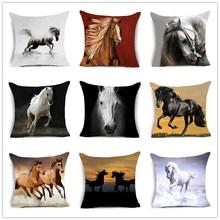 Funda de protección de algodón con caballos nuevos 2018, funda decorativa para cojín para sofá o coche, funda nórdica Vintage