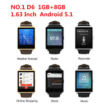 Smart Watch NO.1 D6 1GB+8GB MTK6580 Quad Core 1.63 Inch Android 5.1 For Android IOS Support Health Monitor GPS WIFI Hebrew Thai