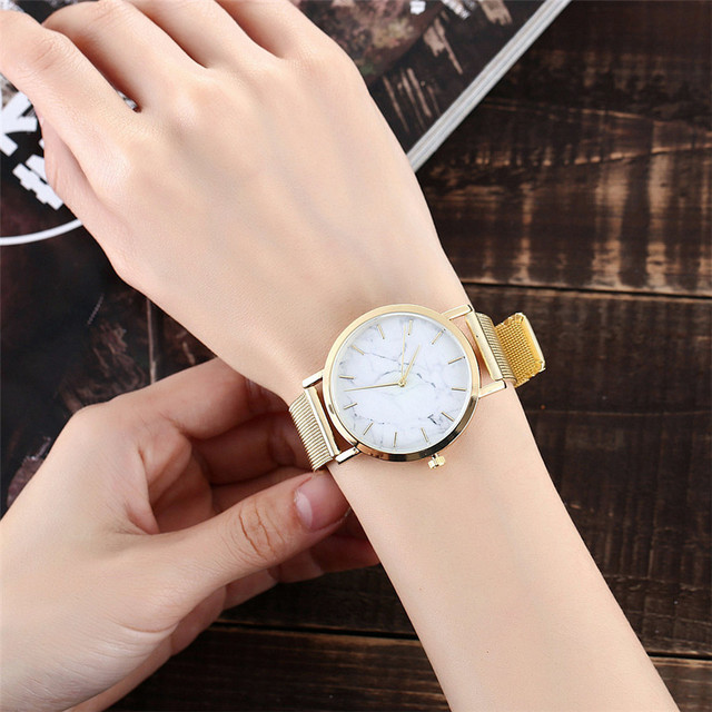 Vansvar Brand Fashion Silver And Gold Mesh Band Creative Marble Wrist Watch Casual Women Quartz Watches Gift Relogio Feminino 3