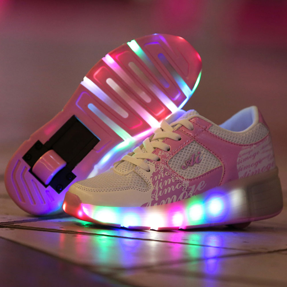 Roller shoes cheap - Aliexpress Com Buy Children Glowing Sneakers With Wheels Pink Black Kids Led Light Up Shoes For Boys Girls Roller Skates Kids Shoes With Led Light From