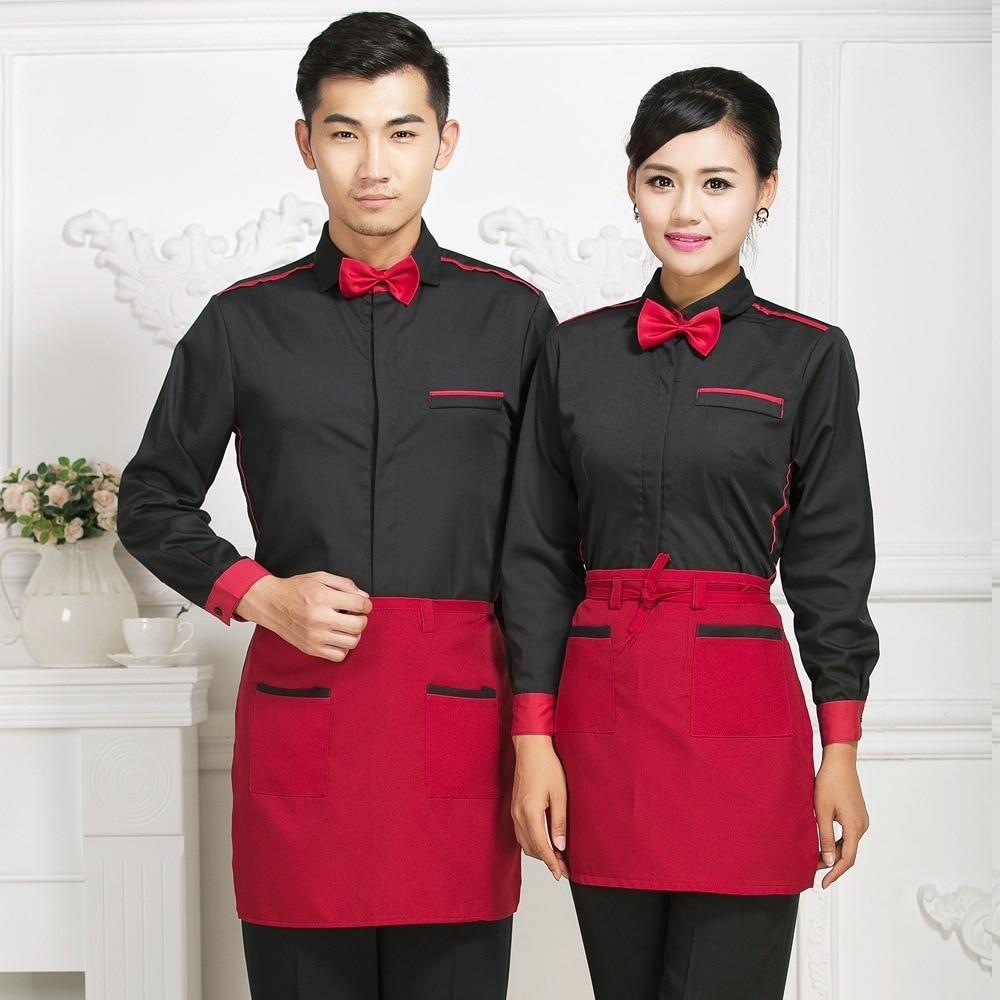 Hotel Waitress Overalls Jacket Dining Chinese Restaurant Women's Uniform Cafe Fast Sood Shop Long Sleeves Waiter Men Shirt H2352
