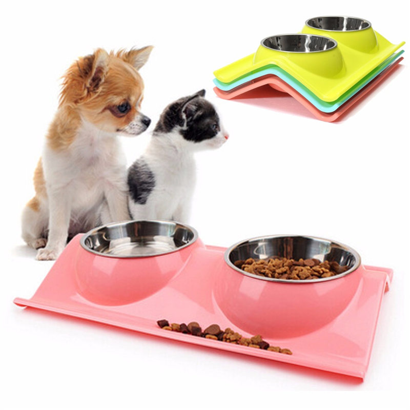 Stainless Steel Dual Bowls Design Pet Dog Cat Puppy Heat-Resistant Bowl Pot Travel Feeder Food Water Dish Pets Suppies