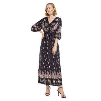 7e686fc87d6 Product Offer. Srogem Для женщин Национальный стиль v-образным вырезом  позиционирования печати Труба рукава длинные свободное платье ...