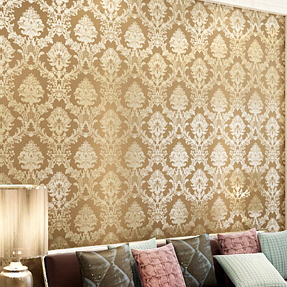 Classic Glitter Damask Floral Wallpaper Roll Pvc Texture Feature Effect Wall Paper Bedroom Livingroom Tv