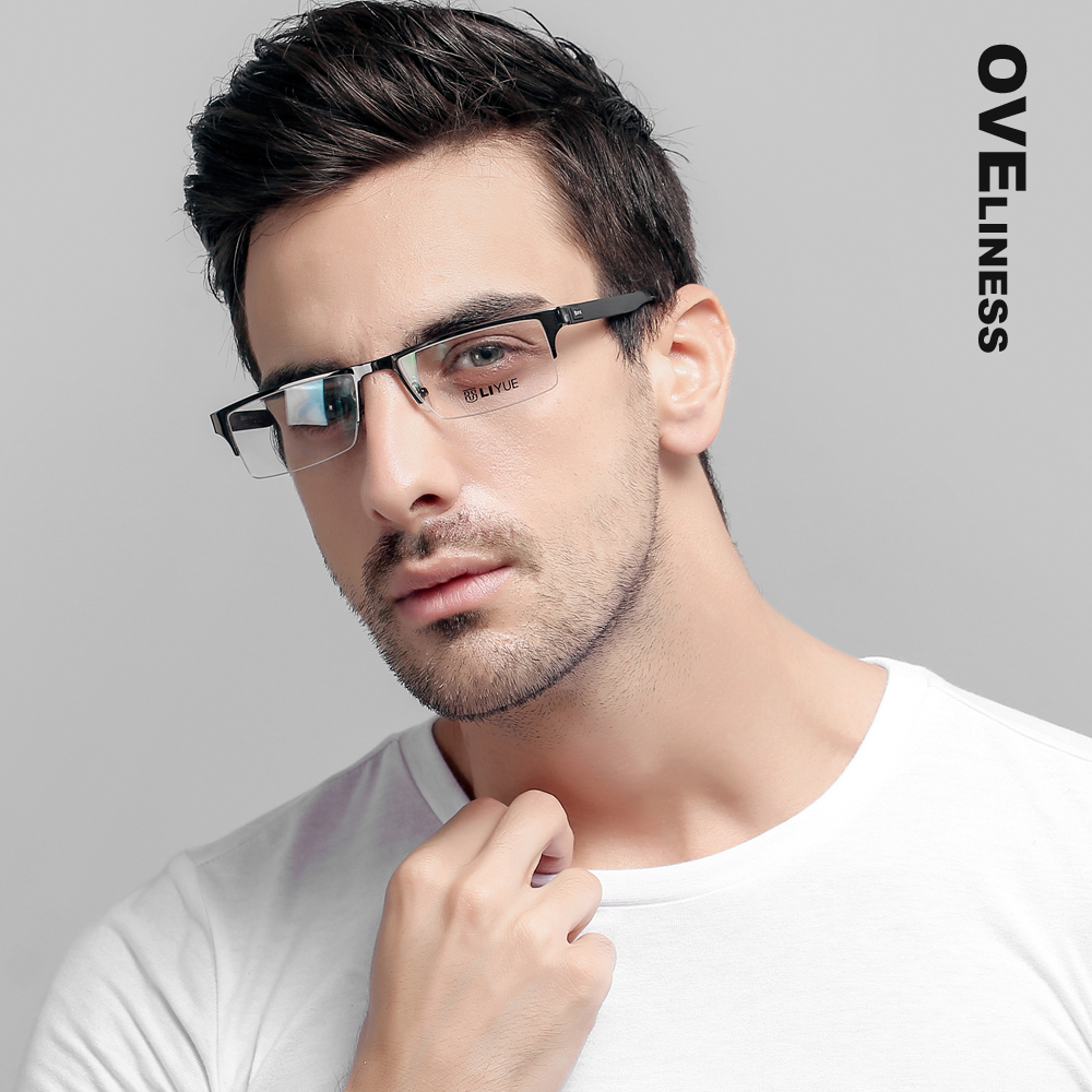 polovina kovových pánských brýlí rám brýle brýle pro muže optický recept Myopia čiré brýle Čtvercové brýle brýle 2020