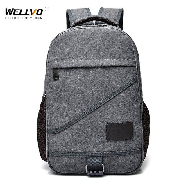 94ddd2eec5 Men Canvas Laptop Backpack College Style Fashion Large Travel Bags School  Bag For Teenage Boys Girls Solid Rucksack Black XA23C