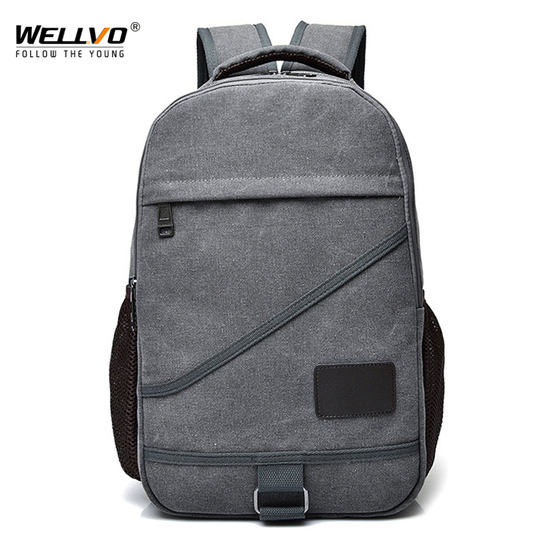 Men Canvas Laptop Backpack College Style Fashion Large Travel Bags School Bag For Teenage Boys Girls Solid Rucksack Black XA23C
