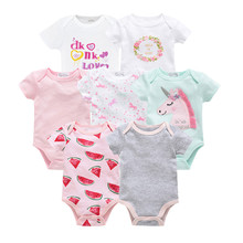 KAVKAS 2019 7pcs Summer Newborn Baby Girl Bodysuits Cute