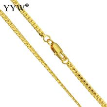 купить Wholesale Fashion 24k Gold-Color Plated Brass Chain Necklace For Men Women Curb Chains Brass for Jewelry Making DIY Men's Gift дешево