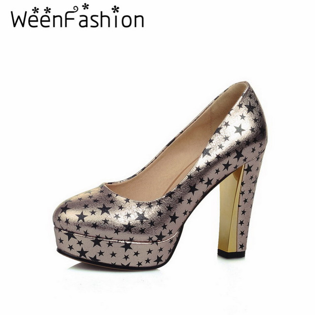 WeenFashion Sexy Women High Heels Pumps Star Pattern 2016 Fashion Ladies Round Toe Shallow Mouth Platform Dress Shoes for Party