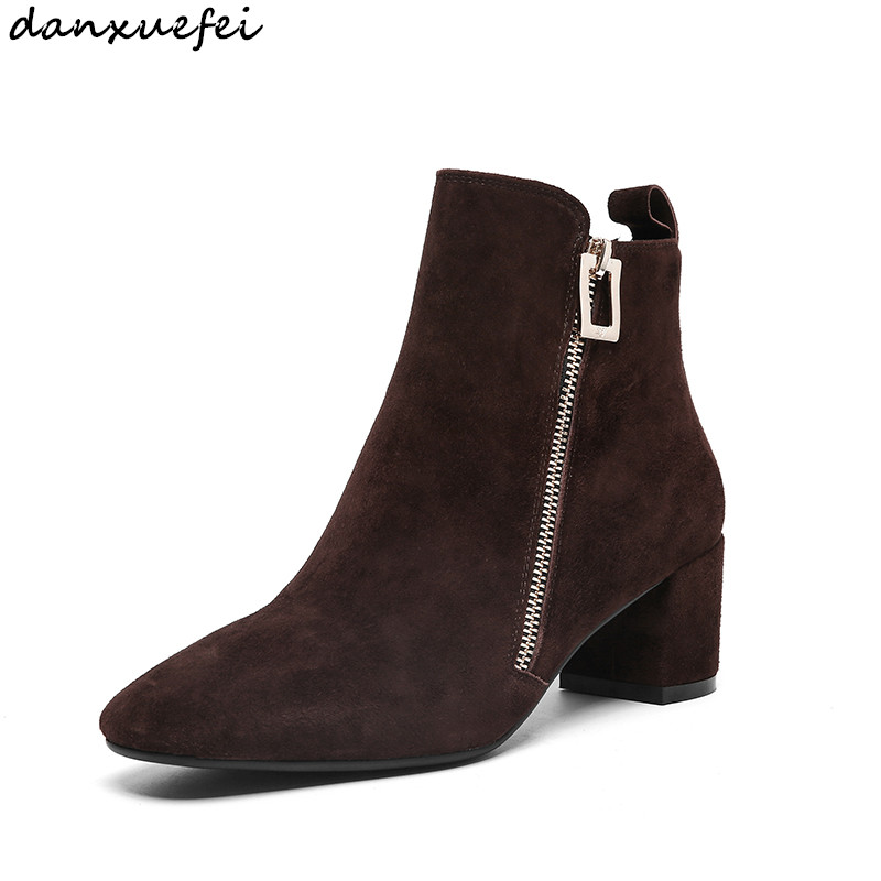 Womens genuine suede leather double zip high heel ankle boots elegant ladies comfortable short booties autumn shoes for womenWomens genuine suede leather double zip high heel ankle boots elegant ladies comfortable short booties autumn shoes for women